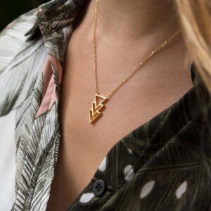 Colgante triángulos oro